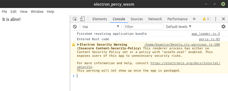 Electron app using WASM